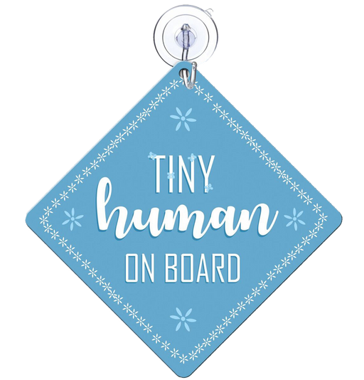 Tiny human on board (blue) Car Sign