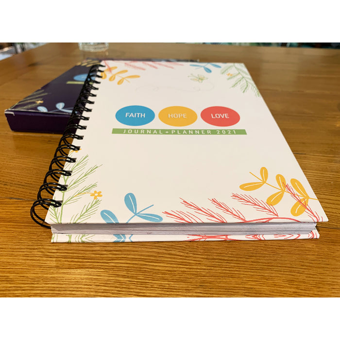 Faith Hope Love Journal + Planner 2021 | Hardcover | White