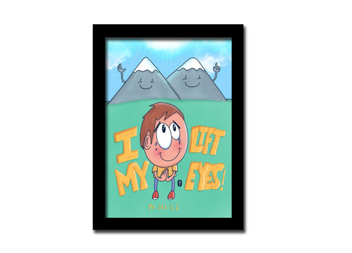 I lift my eyes up A5 frame | Christian Art | Bible Art print