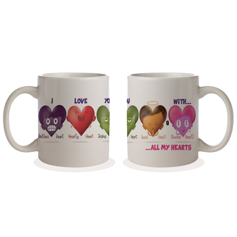I love you with all my 'hearts' Coffee Mug | Valentine's Day Gift | Gift for him | Gift for her