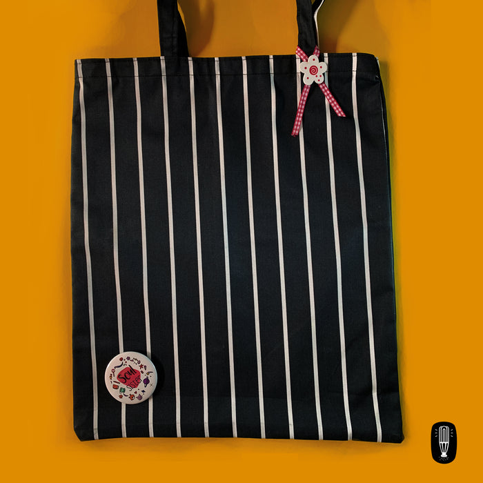 Blue with white stripes | Canvas tote bag + Soul Sister 1 Badge combo | Limited edition