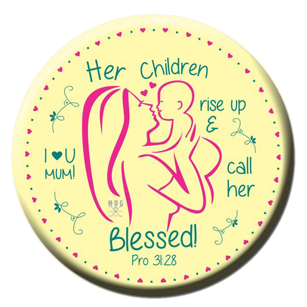 Love you mom (yellow) Fridge Magnet (5.8cm)