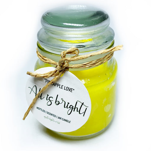 """All is bright"" Pineapple- Mottled Jar Candle 