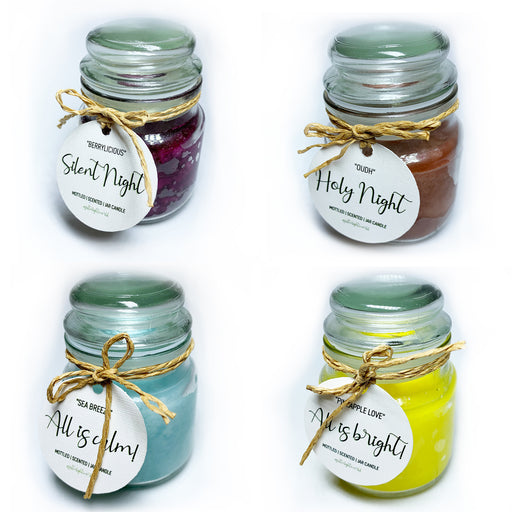 Silent Night set of 4- Mottled Jar Candles | Christmas Candle