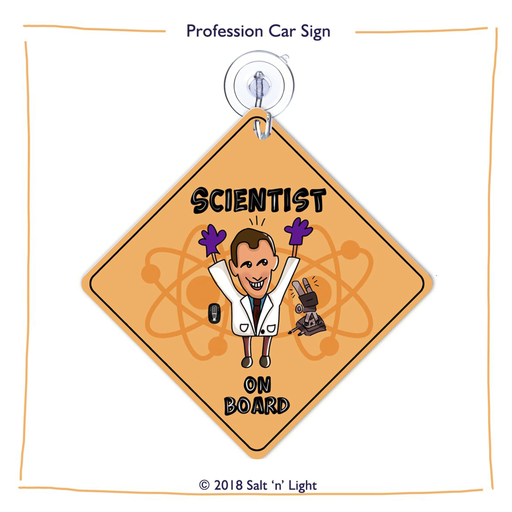 Scientist (male) Car Sign