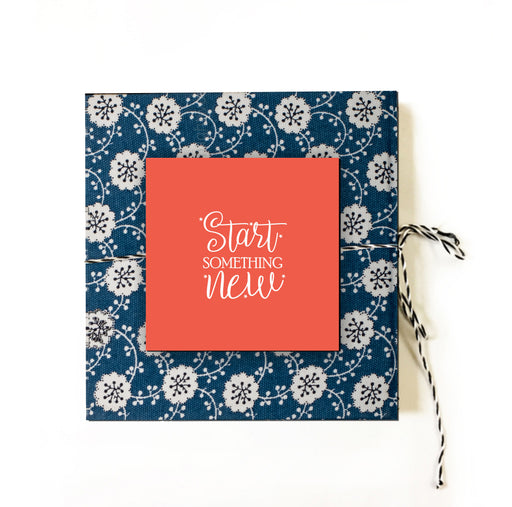 Start Something New (Pink and Blue) | Cloth-bound Journal | Square notebook | Sketchbook