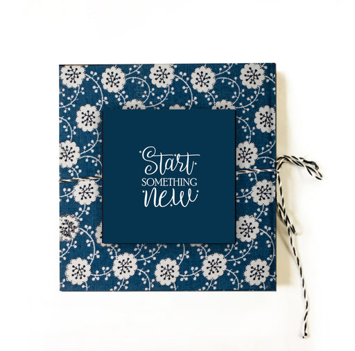 Start Something New (BLUE) | Cloth-bound Journal | Square notebook | Sketchbook