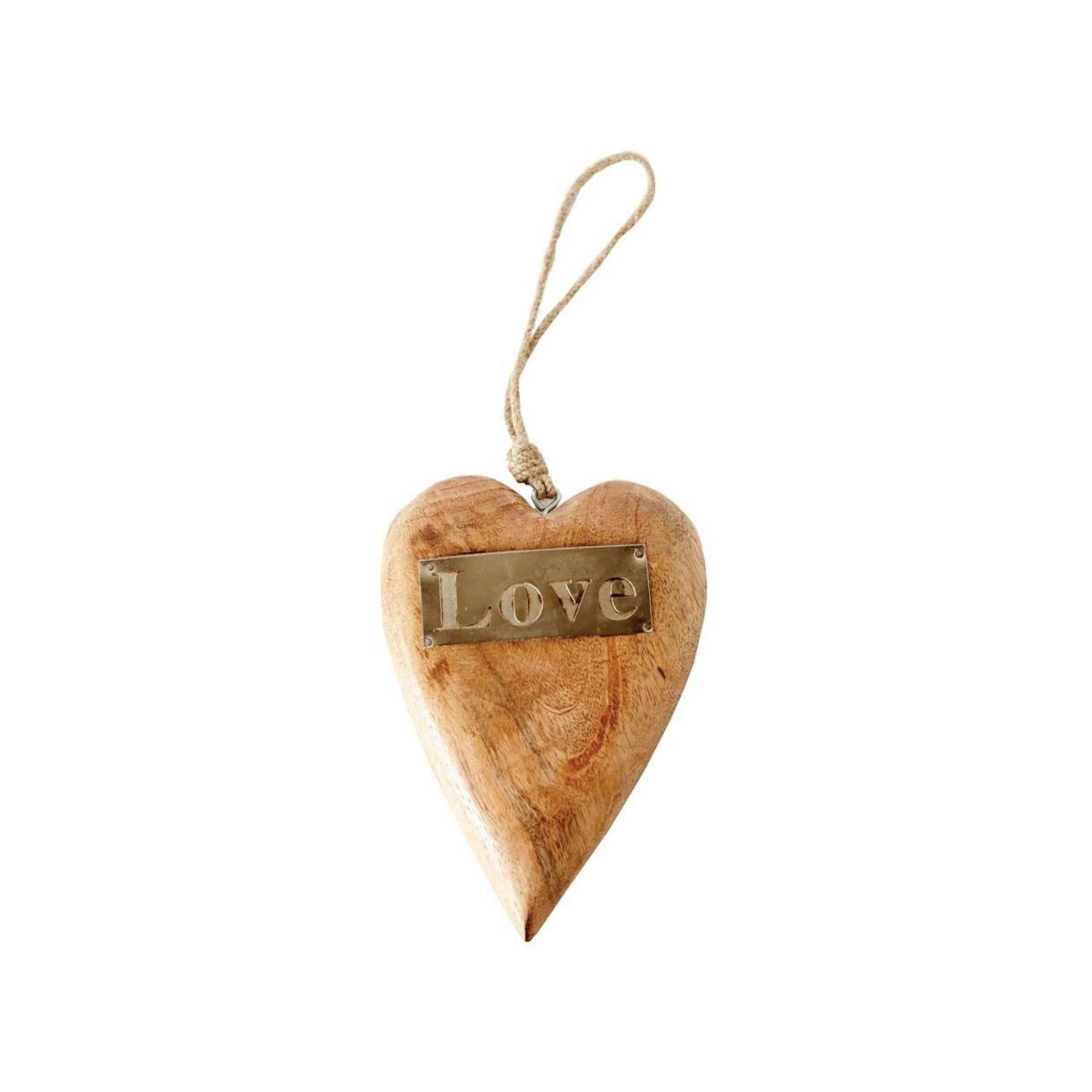 Mango Wood Hanging Heart