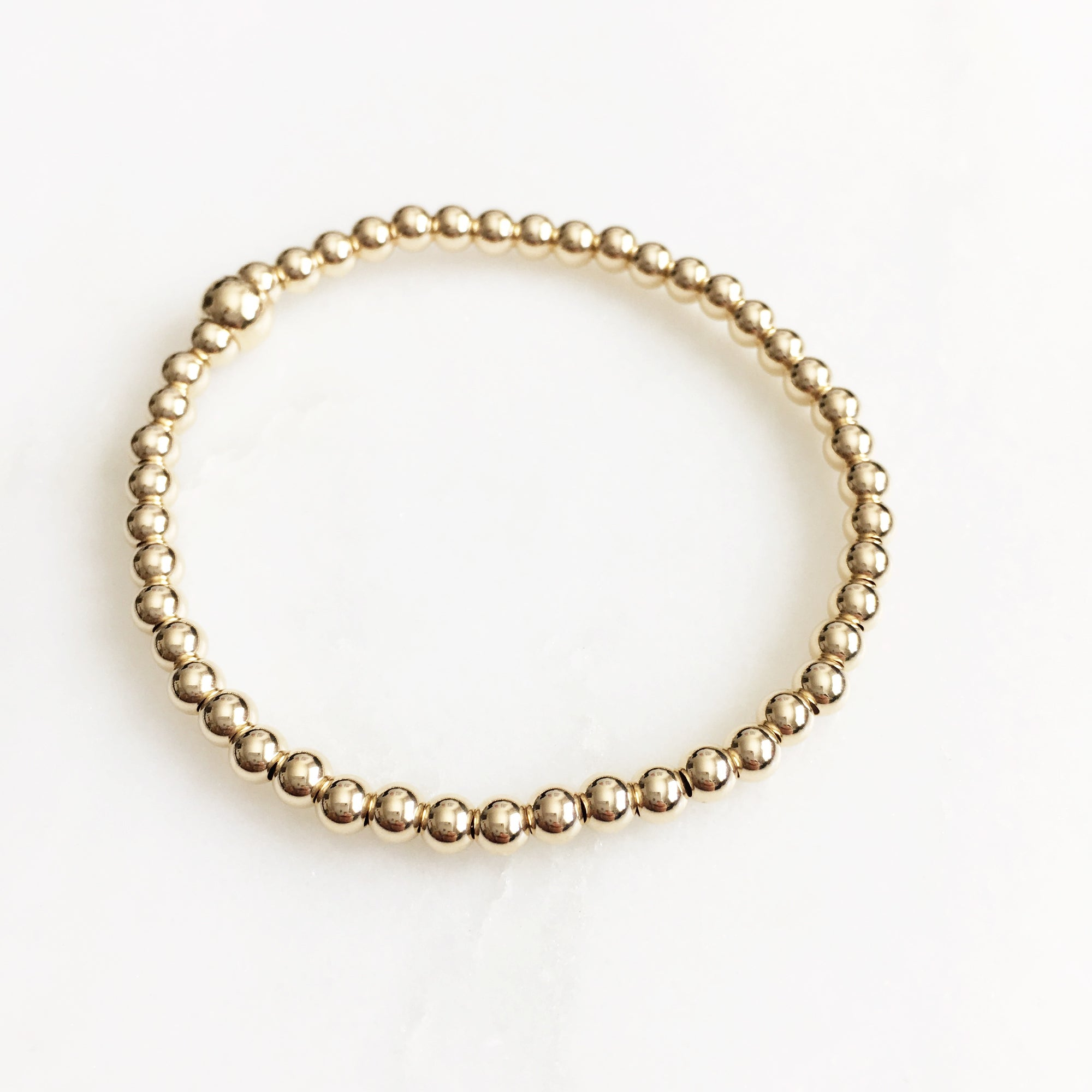Gold Filled Beads Bracelet (4mm)