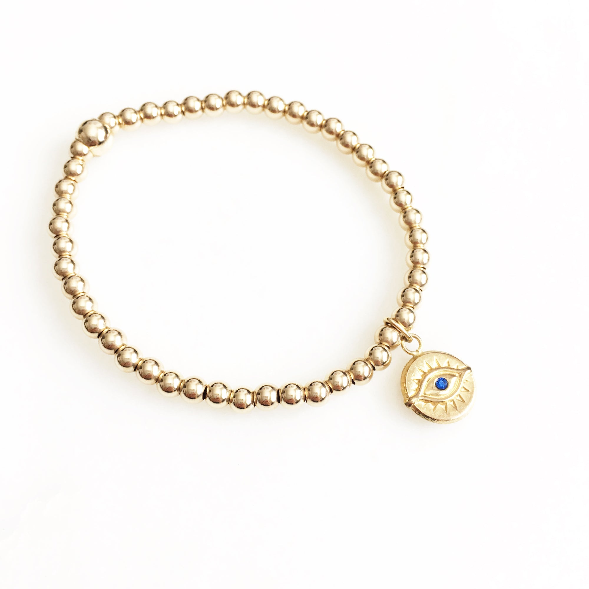 Gold Filled Beads Blue Eye Bracelet