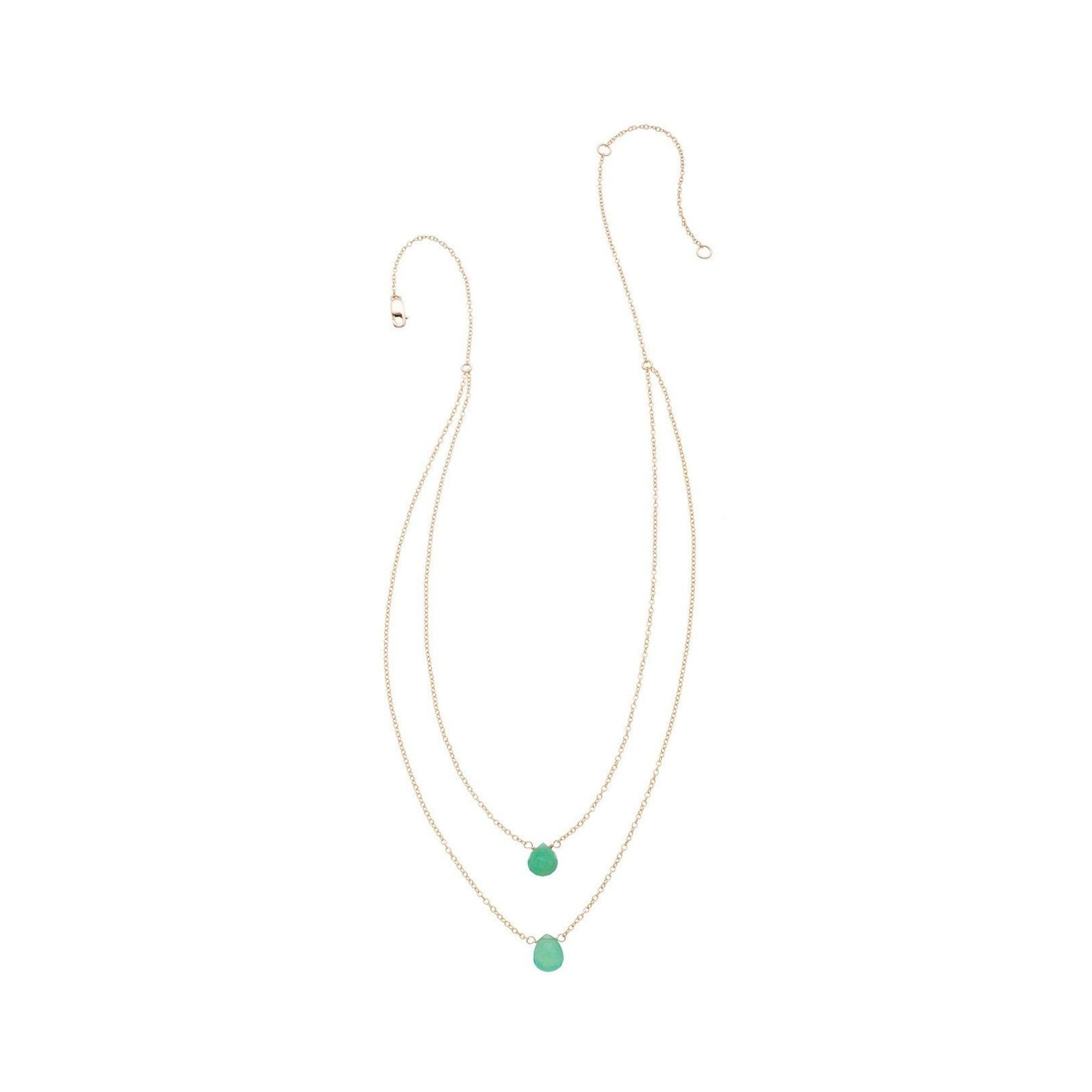 2 Tiny Chrysoprase Gemstones Drape Necklace