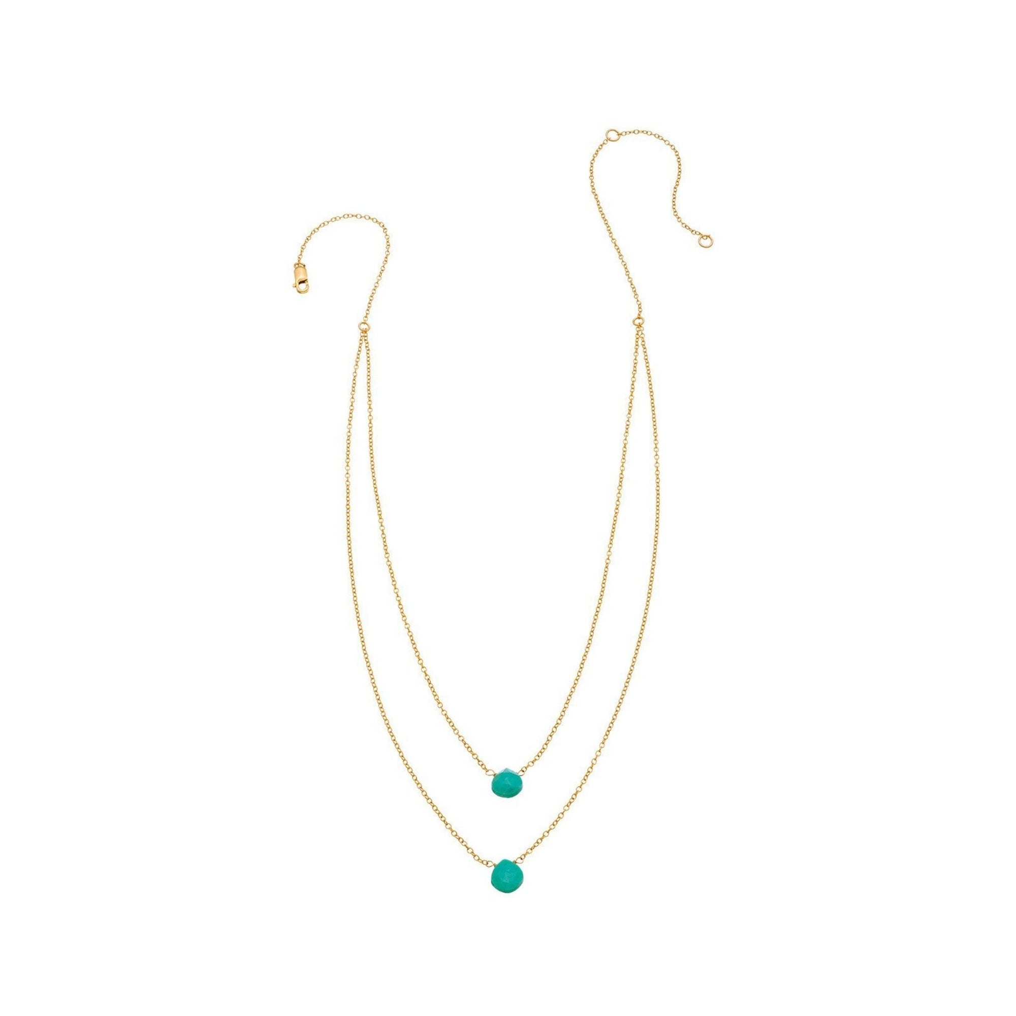 2 Tiny Turquoise Gemstones Drape Necklace