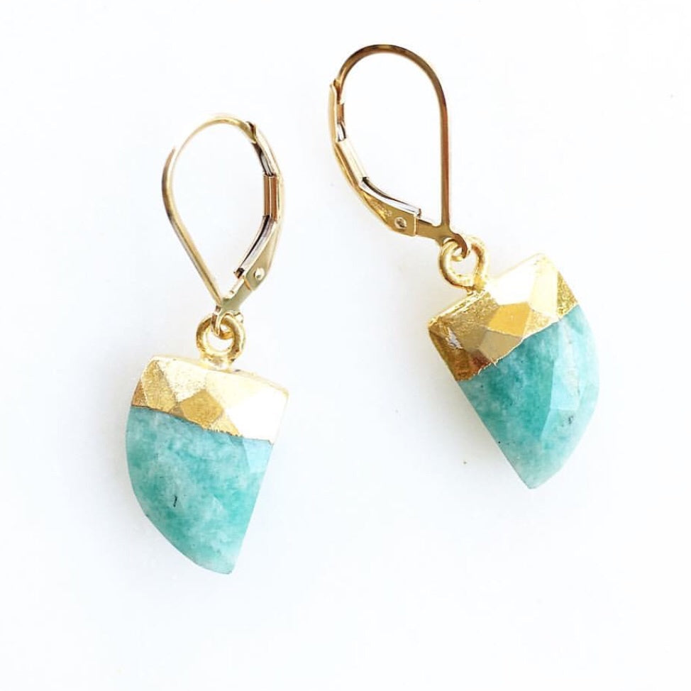 Russian Amazonite Horn Earrings
