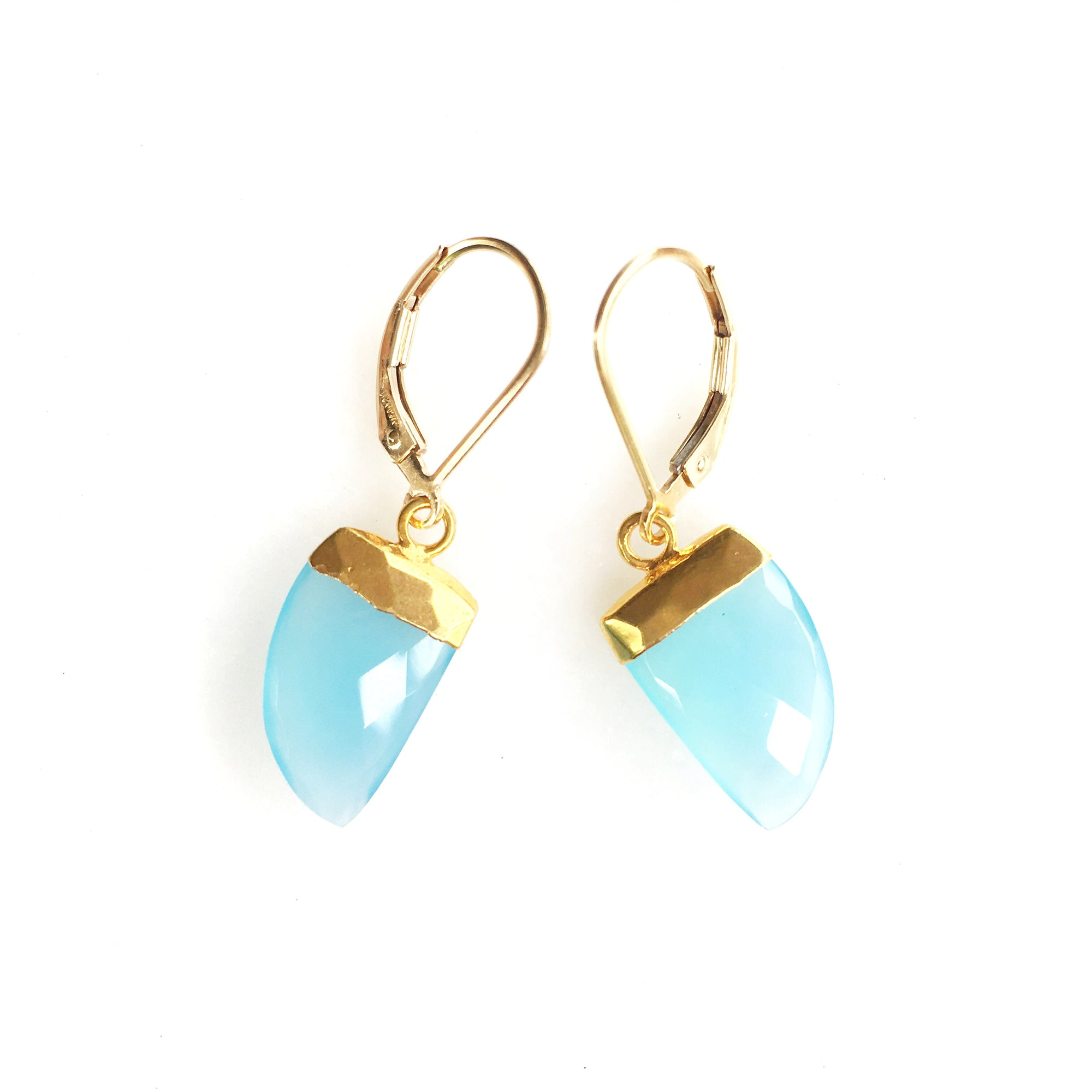 Aqua Chalecedony Horn Earrings