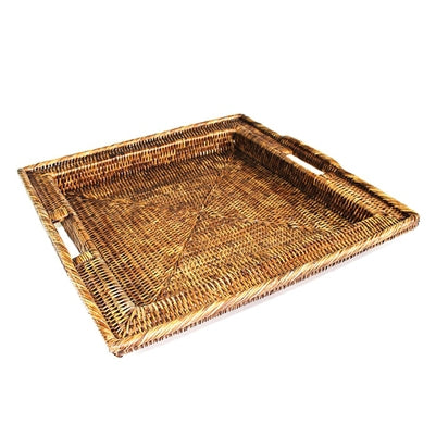 Woven Rattan Square Tray with Handles