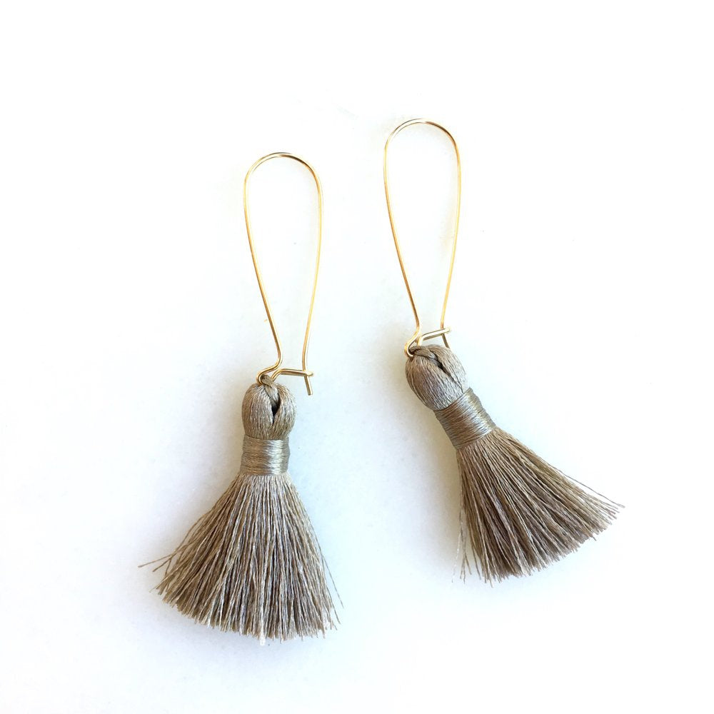 Long Silver Gray Tassel Earrings