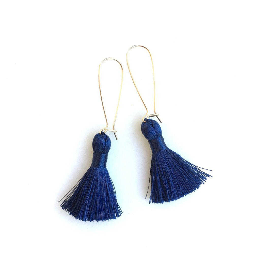 Long Navy Tassel Earrings