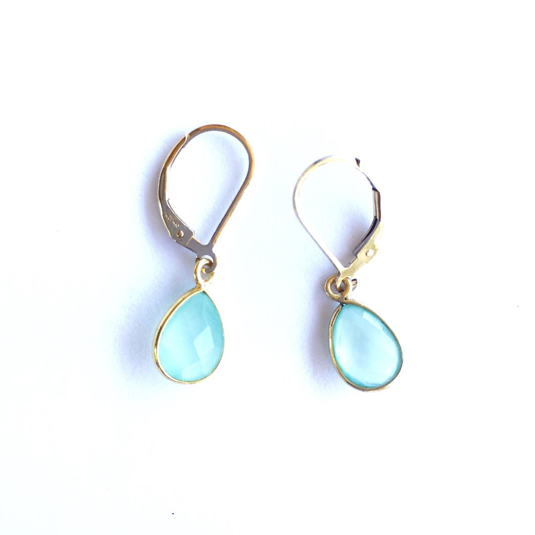 Luna Aqua Chalcedony Earrings