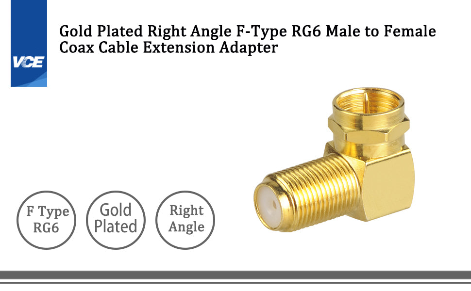 Right Angle F-Type RG6 Male to Female Adapter