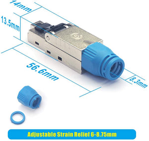 VCE RJ45 Connector Tool-Free for Installation Cable Cat8 Cat7A Cat7 Cat6A Network Plug Field Ready Shielded 40 Gbps 2000 MHz 4Pack