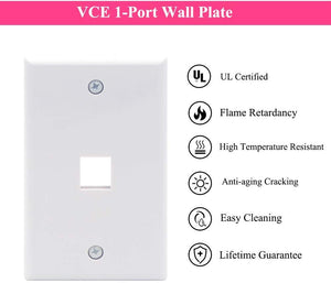 VCELINK 1 Port HDMI Female to Female Connector Wall Plate,UL Certified HDMI Keystone Jack Inline Coupler FacePlate - White