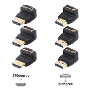 VCE HDMI 90 Degree and 270 Degree Male to Female Adapter 3D&4K Supported 3 Combos