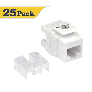 VCELINK Cat6 RJ45 Keystone Jack 180 Degree (25 Pack)-UL Listed