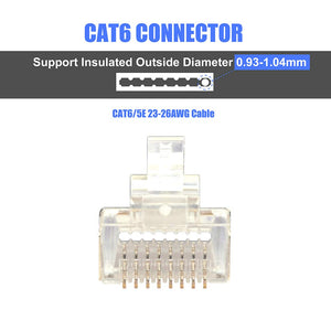 VCELINK RJ45 CAT6 Pass Through Connectors, EZ Crimper Connector STP Network Plug UL Listed for CAT6/CAT5/CAT5E Cables-Gold, 20 Pack