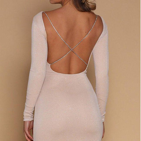 Sexy Slim-fit Sequin Long-sleeved Backless Nightclub Short Dress - wikoco