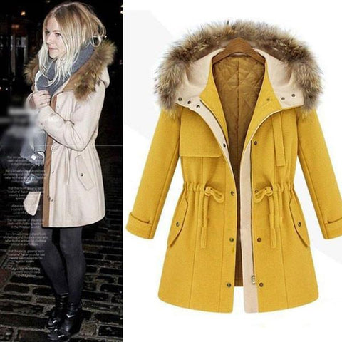 New Warm Fur Collar Drawstring Thick Cotton Woolen Coat - wikoco.com