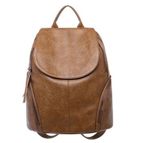 Simple Black Brown Soft Leather PU Large Travel Multifunction Backpack