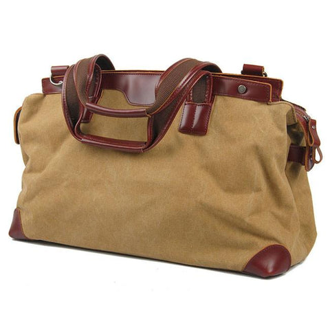 Retro Splicing Large Capacity Handbag Canvas Real Leather Travel Zipper Shoulder Bag