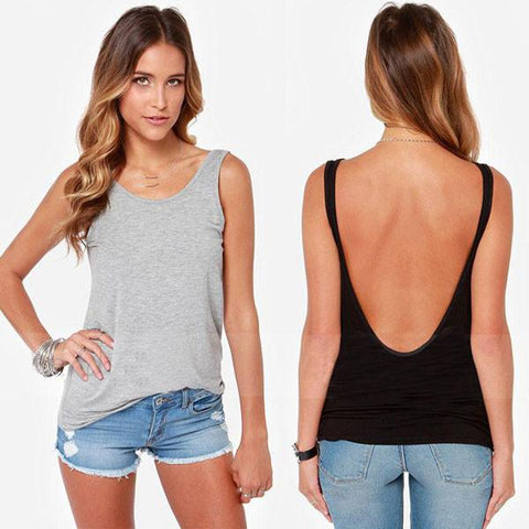 Sexy Back Deep V T-shirt Tops Lady Vest - wikoco.com