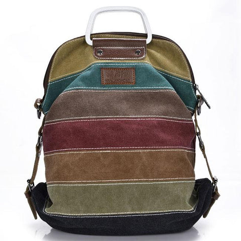 Unique School Shoulder Bag Handbag Multifunctional Backpacks Rainbow Splicing Colorful Striped Canvas Backpack