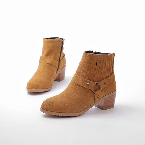 New Buckle Side Zipper Suede Ankle Boots - wikoco.com