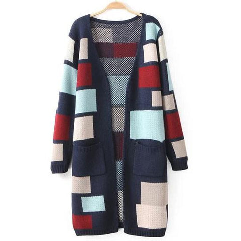 New Colored Grid Long Cardigan Sweater Coat - wikoco.com