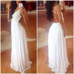 Elegant White Backless Lace Chiffon Long Dress - wikoco.com
