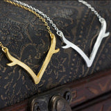 Unique Silver Antler Pendant Necklace