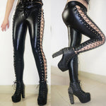 Punk Club Lines Lace-up Side High Slit Faux Leather Girl's Rivets Leggings