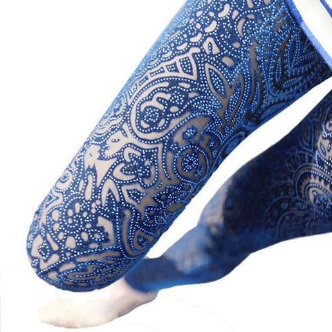 Nice Unique Lace Pierced  Gold Velvet Carved Leggings - wikoco.com