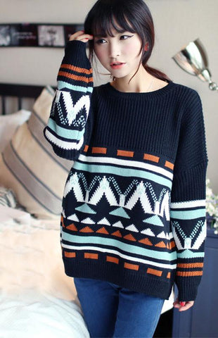 Unique Retro Geometric Bat Sleeve Sweater