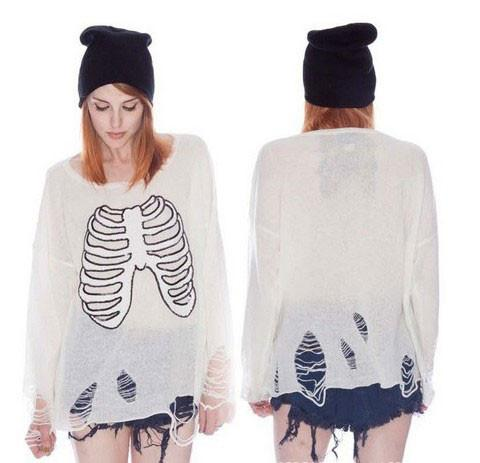 Unique Skull Skeleton Sequined Pierced Sleeve Sweater