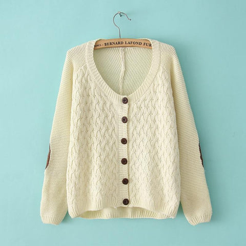 Retro Leather Stitching ElBowknot Patches Irregular knit &Cardigan - wikoco.com