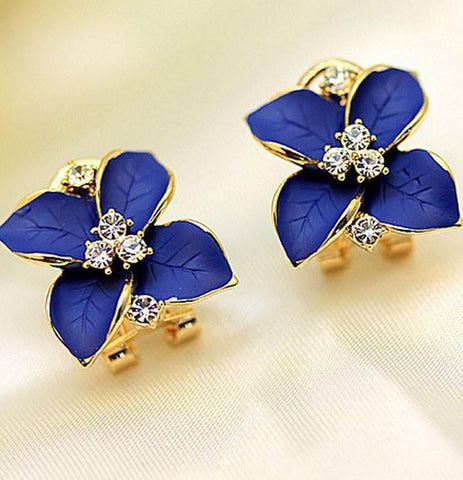 Unique Lily Flowers Rhinestone Earrings&Stud