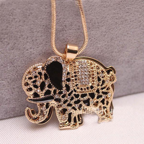 Pretty  Animal Rhinestone Elephant Sweater Necklace - wikoco.com