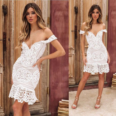 Sexy Hollow V Shape Wrapped Bust Lace Party Dress Summer Dress