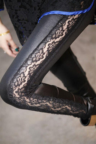 New  Lace Stitching Leather Pants& Leggings - wikoco.com