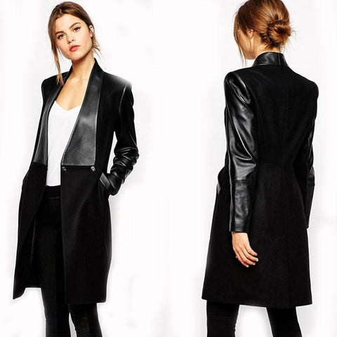 PU Leather Pockets Long Sleeve Slim Fit Bodycon Coat Jacket