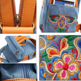 Retro  Flower Embroidery Cowboy Backpack Folk Style Travel Backpack