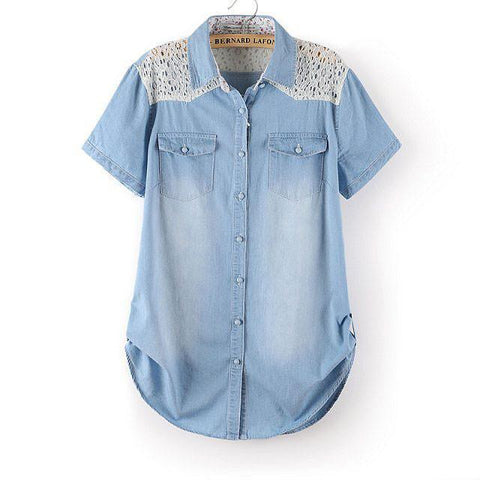 New Floral Lace Stitching Denim Short Sleeved Shirt - wikoco.com